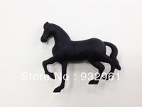 Free shipping 2014  black  and brown horse USB flash drive cute stitch horse pen drive silicone pendrive