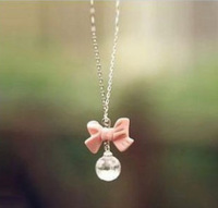 Minimum order is USD10! New Arrival  Fashion Simple Butterfly Bow Shape Necklace Pendant Necklace for Woman