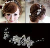 Super sweet women  flowers vintage wedding bridal head jewelry hairwear tiaras pearl rhinestones jewelry accessory