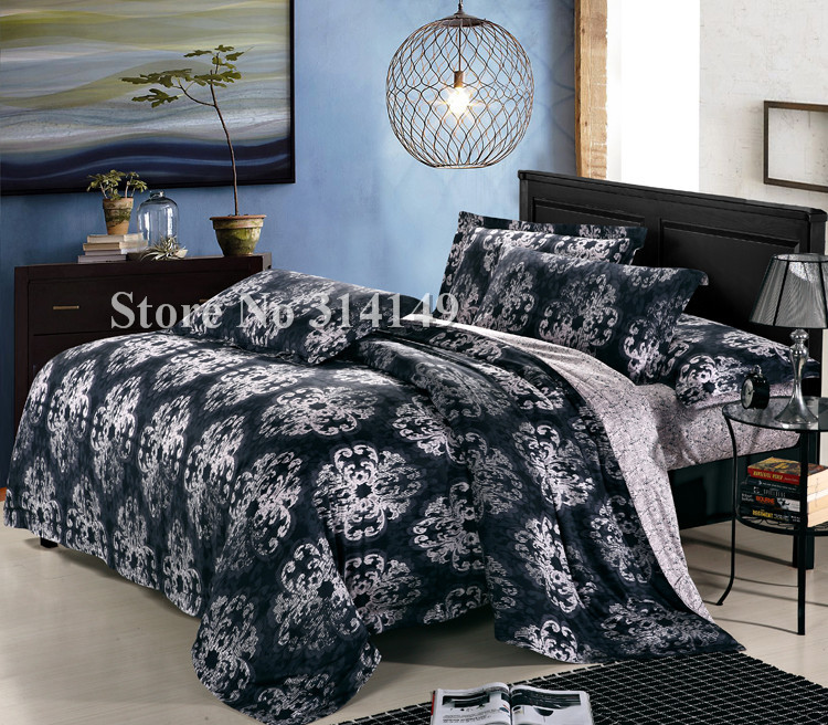 Wholesale,floral pattern new home textile staple cotton 4pcs Queen/Full/King size in a bag duvet quilt covers bedding sets(China (Mainland))