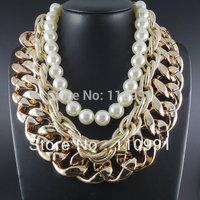 Latest Design Chunky Bib Gold Choker Pearl Statement Chain Necklaces Jewelry Women