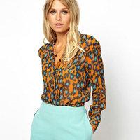 2014 New Fashion Summer Women Brand Chiffon Shirt Lady Leopard Printing Plus Size  Blouse Long Sleeve Clothing Drop Shipping