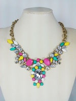 2014 new spring fashion lady gold chunky chain necklace, colorful stones jewelry necklace