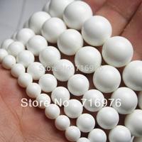 "wholesale 4,6,8,10,12mm Natural Tridacna Stone White Round Jade Stone Beads15.5"" Pick Size Free Shipping-F00095"