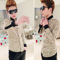2013 men's spring clothing leopard print small stand collar long-sleeve shirt slim shirt male leopard print shirt male
