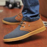 winter boots, Autumn cow muscle outsole fashion Men shoes Men casual shoes low lacing skateboarding shoes single shoes
