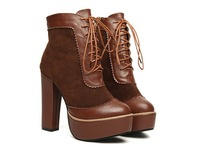 2013 winter fashion patchwork round toe lacing martin boots platform ankle boots thick heel boots ankle-length