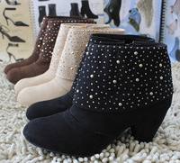 Fashion boots spring and autumn rivet side zipper velvet thick heel boots martin boots free shipping