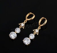 Free shipping!!!Brass Lever Back Earring,2013 new fashion girl, 18K gold plated, with cubic zirconia, nickel