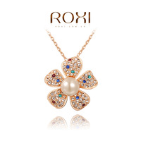 ROXI Christmas gift genuine Austrian crystals pearl Colorful flowers necklace rose gold plated 100%hand made,2030003565
