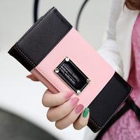 Kqueenstar 2014 cross fashion color block long women's design leather wallet