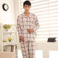 free shipping Sleepwear men's clothing autumn and winter elegant plaid stripe set lounge long-sleeve cardigan male sleepwear