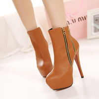 Ultra High Heels Ladies Fashion Boots With 2 Zipper On Side