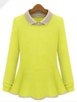 Fashion small square collar shirt collar sweater small lapel shirt basic peter pan collar women's sweater autumn and winter
