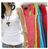 2013 Summer hot-selling quality guarantee Mix Colour hot vest cotton ultra long spaghetti strap women's tank Tops long design