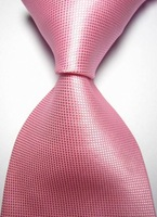 New Solid Pink Checked JACQUARD WOVEN Men's Tie Necktie D153