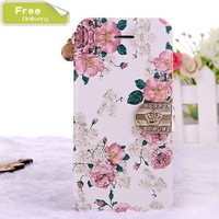 Luxury British rural style diamond leather cover case for iphone 5s leather stand for 5s protective case 5 free gift retail box