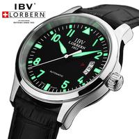 IBV swiss brand pilot watch aviator watches diving men's mechanical self wind automatic luminous dial  date military watch