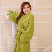 FREE SHIPPING Coral fleece robe 100% cotton male women's lovers thickening long-sleeve autumn and winter bathrobe sleepwear