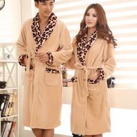FREE SHIPPING Winter thickening leopard print lovers flannel robe bathrobes male winter sleepwear 100% cotton long-sleeve set