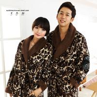 FREE SHIPPING Winter lovers sleepwear thickening flannel robe sexy leopard print male women's lengthen bathrobes long-sleeve