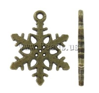 Free shipping!!!Zinc Alloy Christmas Pendants,Factory Price, Snowflake, antique bronze color plated, nickel