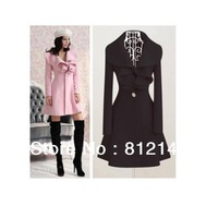 Free Shipping 1pcs Autumn & Winter Fashion Pink / Black Women Long V- Neck Ruffle Wool Coat size M, L, XL, XXL