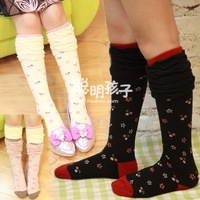 Children's clothing female child baby 2013 autumn cotton pile of pile of socks boot socks knee-high socks 04