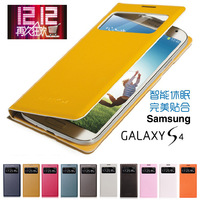 For samsung   gt-i9500 original leather case i9508 phone case cover s4 smart windows protective case