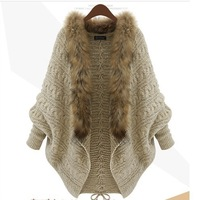 New fashion The new spring and winter clothes bat sleeve cardigan knitting needle loose shawl ladies coat women sweater WW