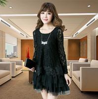 Autumn black lace women's cake one-piece dress big size  autumn outerwear