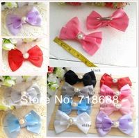 30pcs 8color Kid's Headwear 4.5inch Solid big Bowknot lace bowknot with a pearl diamond centre CLIP  Handmade Hair Ribbon