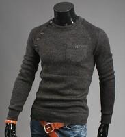 M-3XL Plus size  Men retro cotton cultivation sweater V neck  pullover  sweater for men fashion cashmere sweater