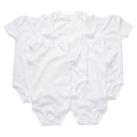 5 pcs Full size Carter's  pure white cotton short-sleeved Romper  bodysuit leotard triangle