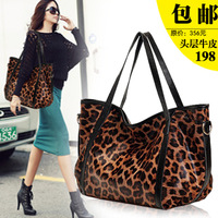 Top leopard print genuine leather women's handbag big bag 2013 cowhide fashion one shoulder cross-body
