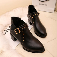 Autumn Winter Fashion Women's Thick High-heel Cotton Martin Boots Rivet Motorcycle Boots Female Buckle Pointed Toe Shoes 2013