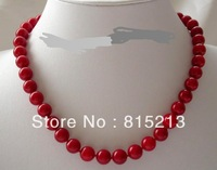 ddh00261 stunning 10mm round red crude coral beads necklace 14K