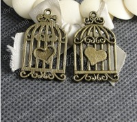 Free Shipping Vintage Birdcage&Heart Decoration Charms Handcraft Jewelry 40Pcs/lot DIY Wholesale Antique Bronze 34*20MM