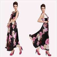 bohemian/Print Dresses Womens Sexy 2014 new fashion Shoulderless Maxi Chiffon Long Dress Pleat Crotch Sides Ankle Length Desses