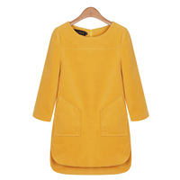 2013 autumn and winter gentlewomen casual plus size clothing o-neck loose woolen a short skirt long-sleeve dress