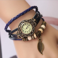 Vintage genuine leather knitted leaves multi-layer male women's child bracelet watch watch
