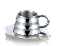 Stainless steel bamboo coffee cup double layer stainless steel coffee cup tea cup creative cup plate