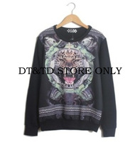 Free shipping fashion hot-selling women hoodies tiger skull pattern trend personality sweatshirt A076