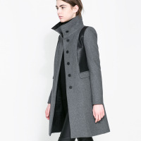Women  grey woolen patchwork PU medium-long trench outerwear patchwork woolen overcoat  for wholesale and  freeshipping