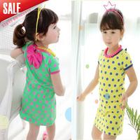 Children clothing wholesale 2014 summer girls candy color dot short-sleeve dress Girl mini dress  Free shipping 5 pcs/lot