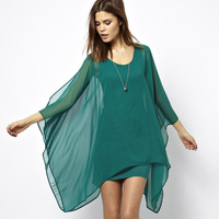 Women  Elegant  jade green chiffon cloak type double layer elastic knitted lining one-piece dress for wholesale and freeshipping