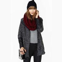 women  dark grey woolen blending PU patchwork zipper medium-long outerwear overcoat   for  wholesale  and  freeshipping