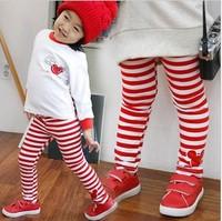 SKZ-275 Free shipping spring autumn children kids stripes Leggings girl child  trousers baby full length pants 5pcs/lot