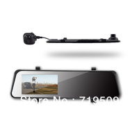 "Free Shipping 4.3"" Rearview Mirror car dvr dual lens with Allwinner A10 chipset  and slide hidden keyboard+motion detection"