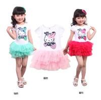 new fashion summer baby girls lace cotton short sleeve tutu dresses cute children's cartoon hello kitty clothes kids casual wear